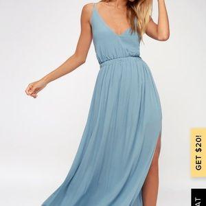 New Lulus Lost in Paradise Slate Blue Maxi Dress